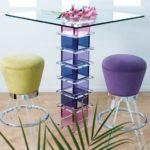 Стол из цветного стекла с полочками