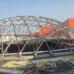 Монтаж крыши из стекла